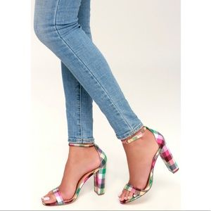 Lulus pink plaid heels